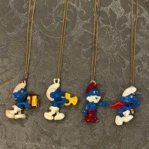 Four Vintage 1981 Peyo Smurf Necklaces